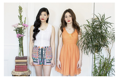 On Jenny: Pins & Needlepoint Lace Crop Top, Cathedral Print High Waist Shorts, Dalaga Tikbalang Necklace. On Lucia: Papaya Lace Inset Dress, Dalaga Halo Halo Necklace.
