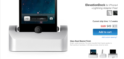 ElevationDock for iPhone 4 Reduced. Buy Now and Get a Free Lightning Adapter! $59