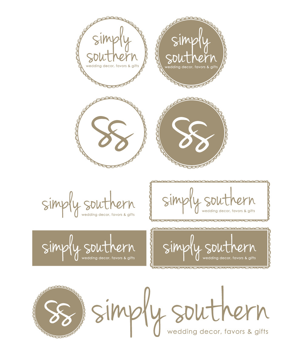 Simply Southern Weddings I recently worked with Joan, the owner of newly launched Simply Southern Weddings. The site specializes in helping couples achieve that fun rustic aesthetic that is quite popular for weddings and parties these days. These are the final designs for their company brand.