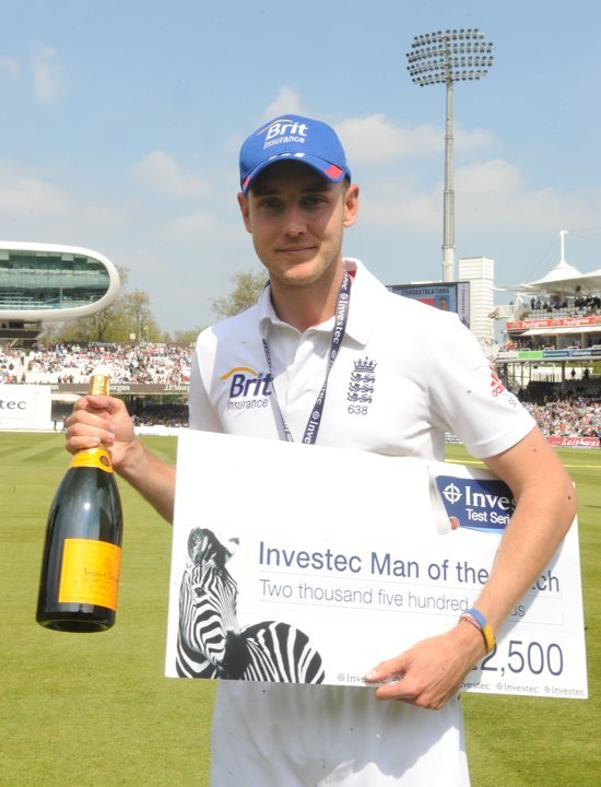 Investec Man of the Match Stuart Broad. Probably due to a seven wicket second inning rout of New Zealand, claiming 8 overall in the Test. Press Association