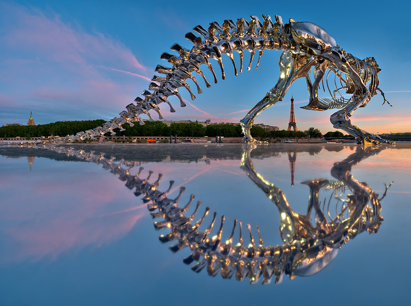 life-size T-rex sculpture in paris by philippe pasquaimage © anthony gelot, more photos