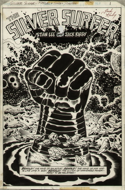 first page to the SILVER SURFER graphic novel by Jack Kirby and Joe Sinnott.