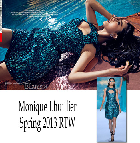 Fan Bingbing wearing Monique Lhuillier inside Harper's Bazaar China June issue.