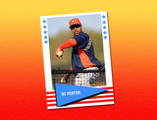 Bo Porter baseball card using a 1961 Fleer template.