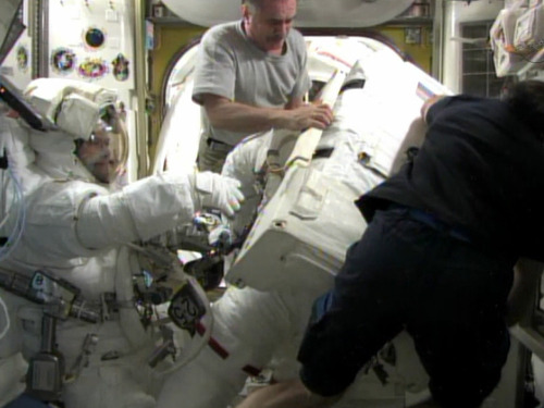Spacewalkers hopeful new pump control fixes space station coolant leak (Photo: NASA TV)  Two spacewalking astronauts may have fixed an ammonia leak outside the International Space Station Saturday, perhaps bringing the outpost's vital cooling system back up to full strength. Read the complete story.