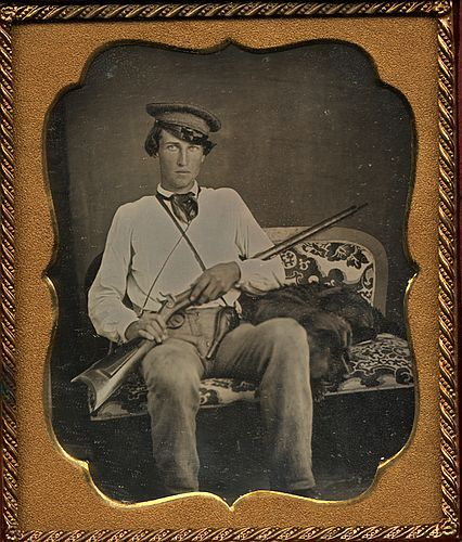ca. 1850's, [daguerreotype portrait of a hunter with his dog and gun] via Luminous Lint, Courtesy of Lee Gallery, LL/13962