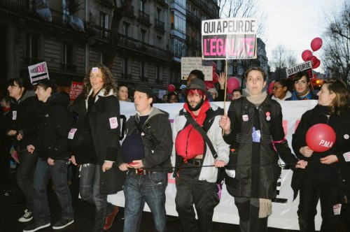 Group of demonstrators giving birth in Paris at the same rights march ^^