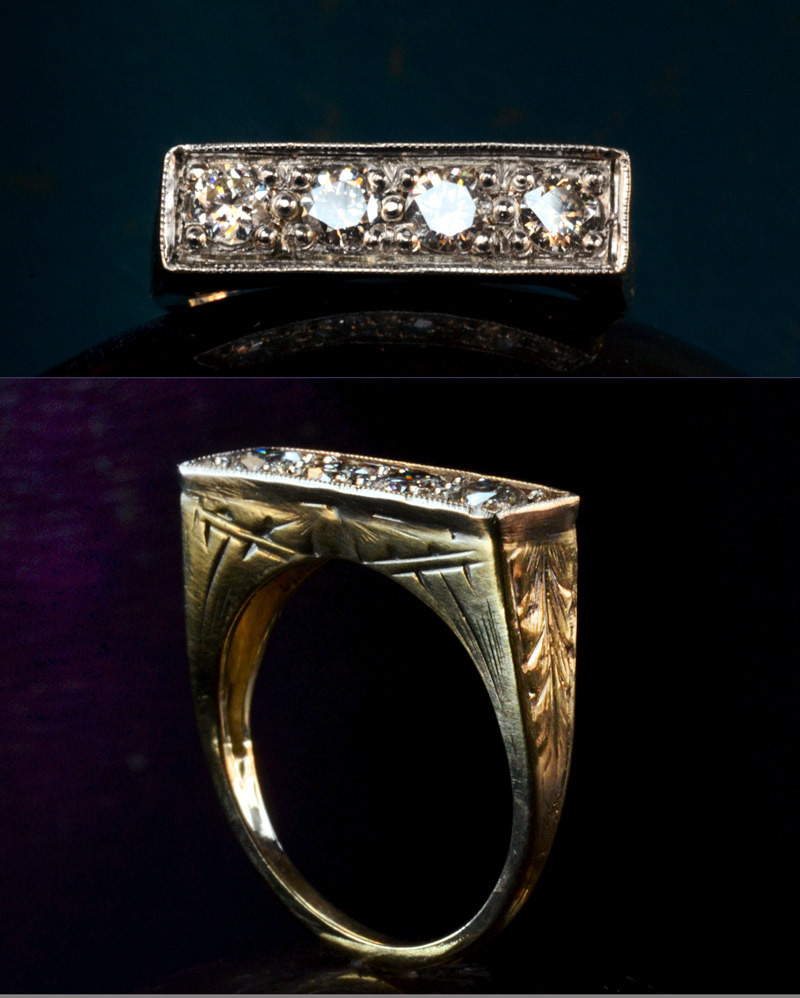 1920s Art Deco Four Diamond Ring, ~0.40ctw Transitional Cuts14K Yellow & White Gold (sold)