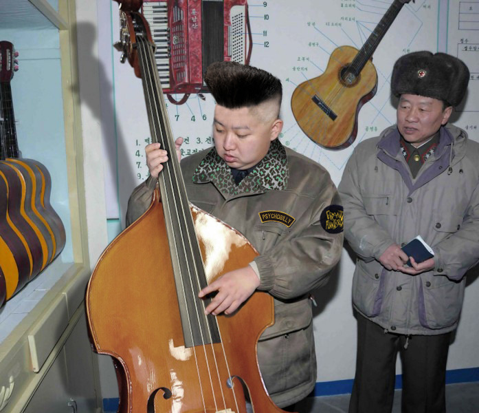howtodresswell:  marcialzinho:  The Psychobilly Dictator Kim Jong Un  fucking lmfao