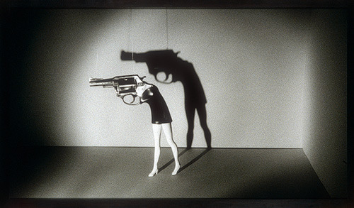 robinlynchartist:  Laurie Simmons, Walking gun, 1991
