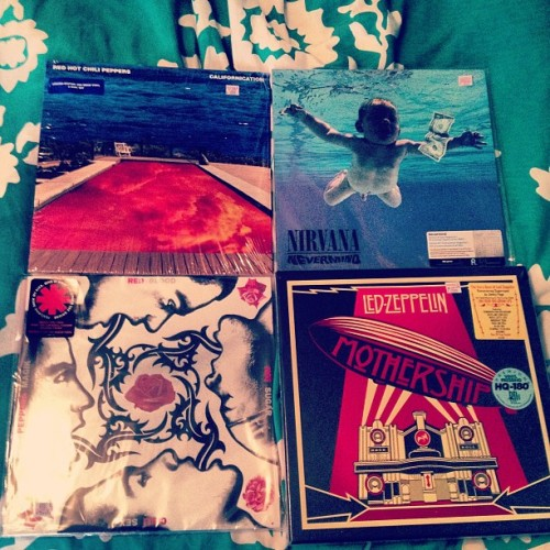 amrtotherescue:  Got some awesome new vinyls yesterday… #LedZeppelin #Mothership #Nirvana #Nevermind #RedHotChiliPeppers #Californication #BloodSugarSexMagik