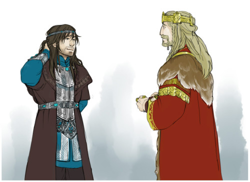 kaciart:  nonesane answered: Fili/Kili: One of them all dressed up for some sort of ceremony (jewelry braided in their hair, fine clothes, etc.). The other is turned on.
