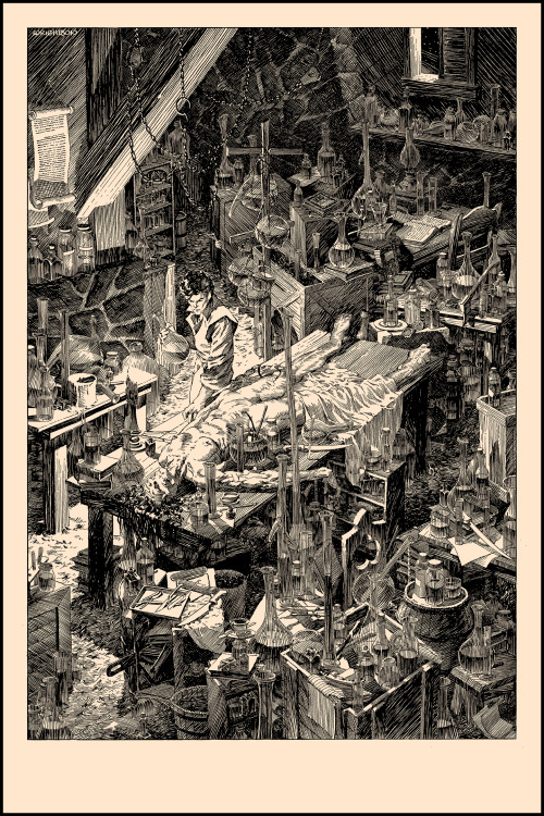 "Bernie Wrightson's Frankenstein Bernie Wrightson is a legend of pen and ink. Having worked in comic books for over 40 years now, Wrightson is a legend in the industry, and an illustrator supreme. His illustrated version of the original Frankenstein novel by Mary Shelley was created over a seven year period, and originally published by Marvel Comics in 1983.  His attention to detail and painstaking linework has inspired a generation of illustrators working in comics, film, and has even left its mark on the world of screen printed art. If you're unfamiliar with his name- you have most certainly seen his work. He has done creature design and concepts for such great films as Ghosbusters (notably- the Library Ghost), The Mist, and Serenity. Wrightson's comic work found itself animated in the original Heavy Metal movie, and his illustrations for Stephen King's Cycle of the Werewolf novel helped propel the book to screen as Silver Bullet.  And he's the co-creator of Swamp Thing! It is with great honor that Nakatomi can present the inaugural release in a ""Frankenstein"" series of high-quality slik-screen prints by Bernie.  The original pen and ink drawings of this set are in art-collector's archives around the world, owned by fans and artists and film directors alike. These prints are shot from scans of those originals- used in the 25th anniversary edition of the book. ""A Filthy Process"" is a 20×30 print on thick 130lb Cougar Natural Cover, signed by Bernie in a numbered edition of only 100. We had the pleasure of becoming acquainted with Bernie since he relocated to Austin a little while back, and he's been a joy to work with. ""A Filthy Process"" will be available on 3/12 TUESDAY around 2pm Central Time on NakatomiInc.com in the Art Prints section. Prints are in hand and ready for immediate shipment. Detail pictures of the actual print below- attempting to highlight the staggering line work and detail-    Thank you- see you HERE on the site at 2pm Central time on Tuesday 3/12."