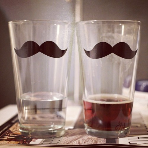Birthday gifts getting some use. #mustache #beer #water