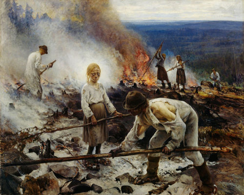 odrazy:  Eero Erik Nikolai Järnefelt - Burning the Brushwood, 1893 I was doing a project about Scandinavian art, and I found this piece painted by a Finnish painter called Eero Järnefelt. Well, I don't have much to say about it, and honestly, I don't even want to. To explain simply, I'd say that the impact this painting had on me was way too strange, and personal for me to try to catch it in simple words. Anyways, I hope you enjoy it.