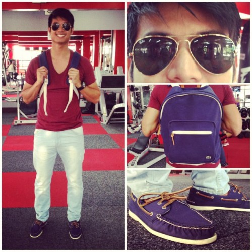 Joining the OOTD club! Approve? :) #RayBanAviator #LacosteLiveBackpack #SperryTopsiders #Bershka