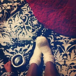 Tea cures sickness ☕ #fuzzysocks #tea #raybans #bed