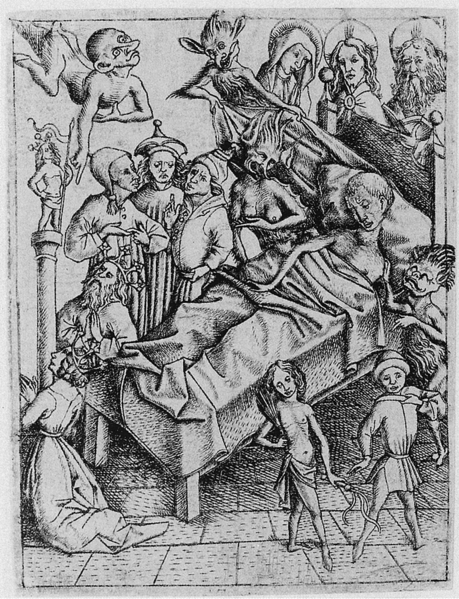 "Temptation of lack of Faith; engraving by Master E. S., circa 1450, from the Latin text Ars moriendi (""The Art of Dying"")"