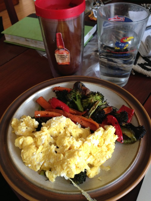 Sassy USA vs Canada bout day breakfast. Scrambled eggs, roasted veg, coffee and water