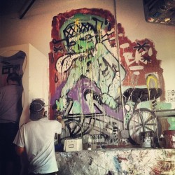 Got ta paint today with @tonetank, @wizardskull and @vatobrown for #BushwickOpenStudios Peep it over @nbkc 121 Knickerbocker. #Bushwick #Brooklyn #NYC 2013 #Art #InProgress