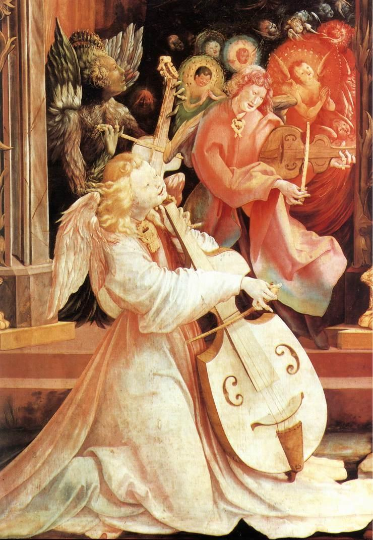 Annunciation, Angelic Concert (detail), c. 1515. Matthias Grünewald (German, 1470/80-1528). Renaissance (Northern). Oil on wood. Musée d'Unterlinden. Colmar, France. Only religious works are included in his small surviving corpus, the most famous being the Isenheim Altarpiece. Its nine images on twelve panels are arranged on double wings to present three views. The first view with the outer wings closed shows a Crucifixion flanked by Saint Sebastien and Saint Anthony. When the first set of wings is opened, the Annunciation, Angelic Concert (sometimes interpreted as the Birth of Ecclesia), Mary Bathing Christ, and Resurrection are displayed.