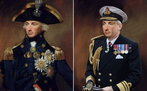 How historical figures would have looked today: (ABOVE) ADMIRAL LORD NELSON A Vice Admiral and dedicated navy officer, Nelson is dressed in a modern naval uniform. In today's Navy, Nelson would spend more time deskbound and as such he would have gained a little weight which is reflected in the portrait. To replace the right arm lost after being wounded in battle, he has been given a prosthetic to wear. The Victoria Cross wasn't available during his time but had they been in existence, he would have qualified. (from: The Telegraph)