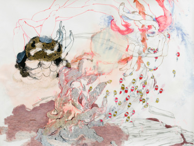 danielhh:  Kymia NawabiFinger Nailin Hay In, 2007-2008 acrylic, acrylic ink, charcoal, conte, sparkle sticker, watercolor, watercolor pen on paper 78 x 108 in.