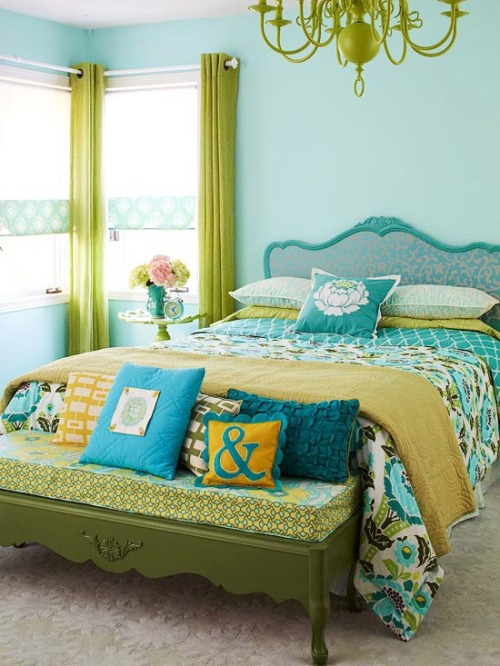 Love teal and lime green together. Lots of great patterns here as well. More colorful rooms can be seen on the blog.