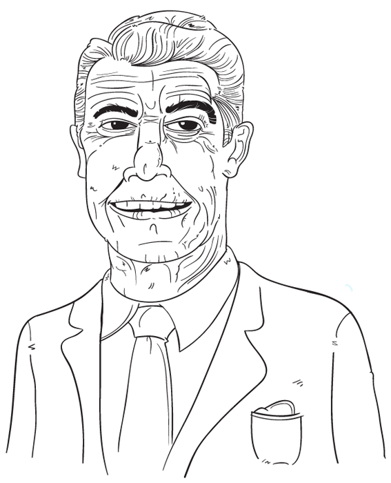"#40 - Ronald Reagan, the actor turned President was so much a fan of the movies that he started his own Star Wars. He started Reaganomics, survived an assassination attempt (there by breaking the voted in a year starting with an ""0"" = death curse), and revived the right wing of American politics. He was also really great in that music video by Genesis for ""Land of Confusion""."