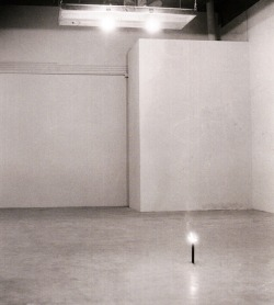 "islayme:  Chris Burden, Shout Piece, 1971 F Space, Santa Ana, California, USAAugust 21, 1971 ""I was seated on a platform suspended 14 feet above the floor. My hair was braided and my face was covered with red body paint. Four 500 watt movie lights were placed around me facing the front entrance of the space. My voice was amplified by three speakers. As people entered the gallery, I repeatedly yelled at them, 'Get the fuck out, get out immediately!' Because the sound was very loud and contained high frequency feedback, most people left quickly."""