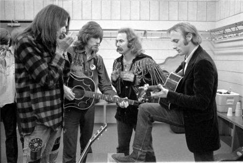 "Today on Fresh Air  Graham Nash explains how having Neil Young join Crosby, Stills & Nash made the sound darker and more intense:   It's more difficult to sing 4 part [harmonies], you've got to start shifting parts around and stuff. Neil [Young] brings a darker edge to our music, and I don't mean that in a negative way… it's more intense. That first album of Crosby, Stills & Nash is kind of summery, lots of palm trees in it feeling, a cool breeze through the canyons kind of music. Actually, Jimi Hendrix when asked what he thought of Crosby, Stills & Nash [he] looked at the interviewer and said, 'That's Western sky music.' And I thought, 'Wow. That's brilliant.' The point is that Neil brings a different kind of musical intensity to the band, and the music of Crosby, Stills & Nash and Crosby, Stills, Nash & Young is very, very different.      Hear the full interview, read more interview highlights or read the first chapter of Nash's memoir ""Wild Tales"" here    image of Crosby, Stills, Nash & Young in 1973 via SoundColorVibration"