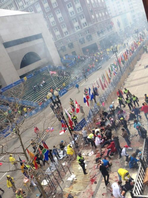 seraphimalune:  Two explosions at the Boston Marathon's Finish line. Several gravely injured, three dead. During my time in college the American flag has spent more time at half mast than full. It's a sad time for America.