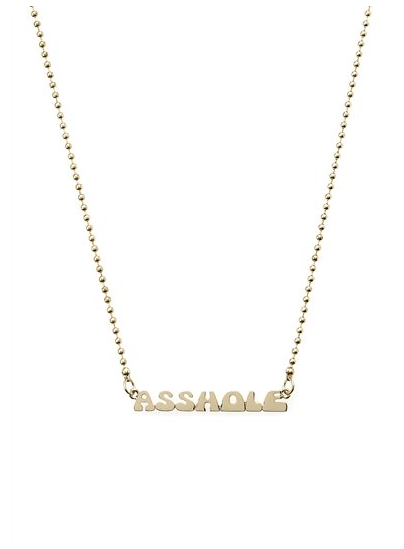 Birthday shopping while at work. Marc Jacobs ASSHOLE Nameplate necklace will be all mine.