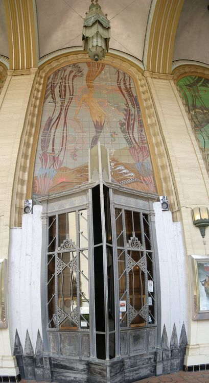 """Art Deco Mermaid — Avalon Casino ""  …  Mural originally designed in 1929 by John Gabriel Beckman and painted on concrete … In 1986 the mural was executed in tile by RTK Studios. See the beautiful close-up of the tiled mural here:   http://rtkstudios.com/products/mermaid-avalon-casino-mural-45x90   (Click on the image)"