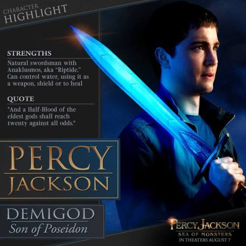 "a-big-fandom-mess:  We have a Percy Jackson factfile!Is it just me, or does Riptide look like Sting?? Percy, look out, behind you!!! ORCS!!""Shall reach TWENTY against all odds""?? We all know that they're not 16 anymore, but one prophecy is better than no prophecy, right??I don't know, I guess this has given me a bit more faith for this movie. From the official movie twitter :)"