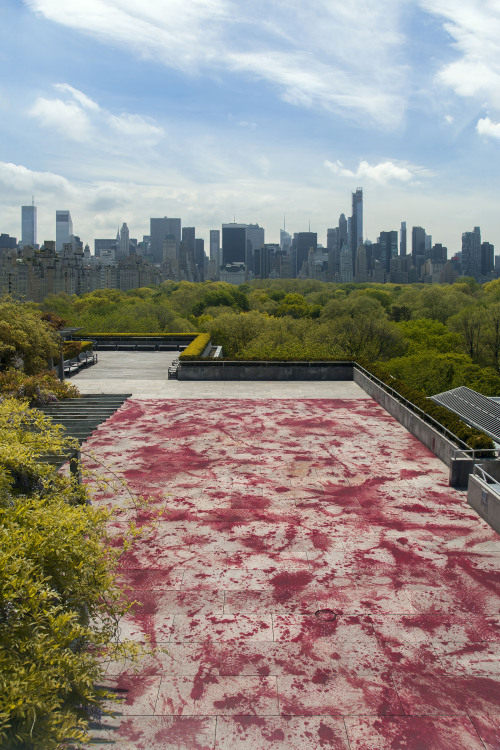 letmypeopleshow:   Let It Bleed: The Met's New Rooftop Painting After the last two massive, vertiginous installations on the roof of the Metropolitan Museum of Art, which demanded able bodies and rubber soles, this summer there's a finally a piece everyone can walk on. But this one is scarier. It's a landscape painted in situ by Imran Qureshi, an artist from Pakistan. Playing off the setting above Central Park, he has rendered bursts of ornamental foliage, exuberant and elegant. They look like enormous details of the gardens in Mughal miniatures, an intricate genre he spent years mastering. In this garden, though, something terrible has happened. Switching from the elaborate detail of the Islamic miniature to the ritual dance of modernist action painting, Qureshi has splattered the roof in paint, blood-red like the leaves. It takes a moment to perceive the scope of the tragedy that may have unfolded in such a setting. The piece, the artist says, is a response to violence that has occurred around the world in recent decades. He calls it And How Many Rains Must Fall before the Stains Are Washed Clean. There is no shortage of war art at the Met, of course. But at a time when the museum has one Civil War show on view and another opening this month, there is a particular sense of trauma and despair in some of its galleries, especially because so many of the 19th-century images echo what we see in the daily news. It was as a response to bombings in Lahore that Qureshi began using red acrylic paint in his art, creating tragic landscapes that negate the idea of paradise on earth. While the Met piece was in the works, the Boston bombings occurred. In another symbolic gesture, Qureshi decided not to paint the entire surface. Read more Imran Qureshi, And How Many Rains Must Fall before the Stains Are Washed Clean, installation view, 2013, acrylic. COMMISSIONED BY THE METROPOLITAN MUSEUM OF ART, NEW YORK FOR THE IRIS AND B. GERALD CANTOR ROOF GARDEN.