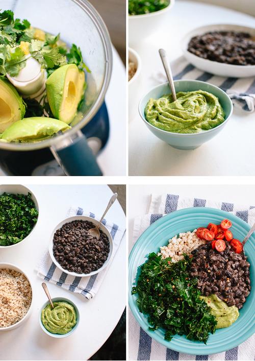 vegan-yums:Kale, Black Bean and Avocado Burrito Bowl / Recipe