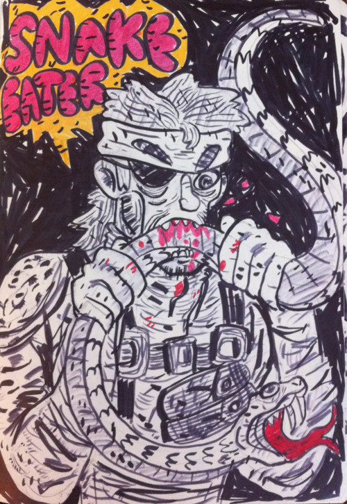 twodee:  MetalGear SnakeEater - Snake found himself a yummy snack. You take what you can get when you're in the jungle, eh? Pen / Brush / Sharpies