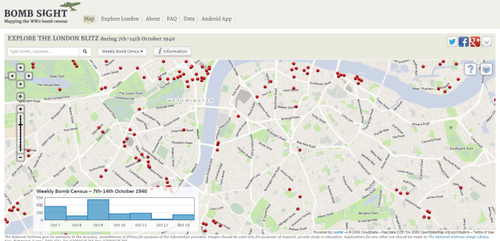 Screenshot of: University of Portsmouth - Bomb Sight (2012) Web mapping the Blitz- this is powerful stuff and impeccably crafted, as well. Be forewarned though that their servers seem to be experiencing heavy traffic. I also recommend reading BBC's article on the project, which was put right on the front page of their website when I went there. Pretty prestigous for the release of an interactive map to make the front page. http://bombsight.org http://www.bbc.co.uk/news/uk-england-london-20637222