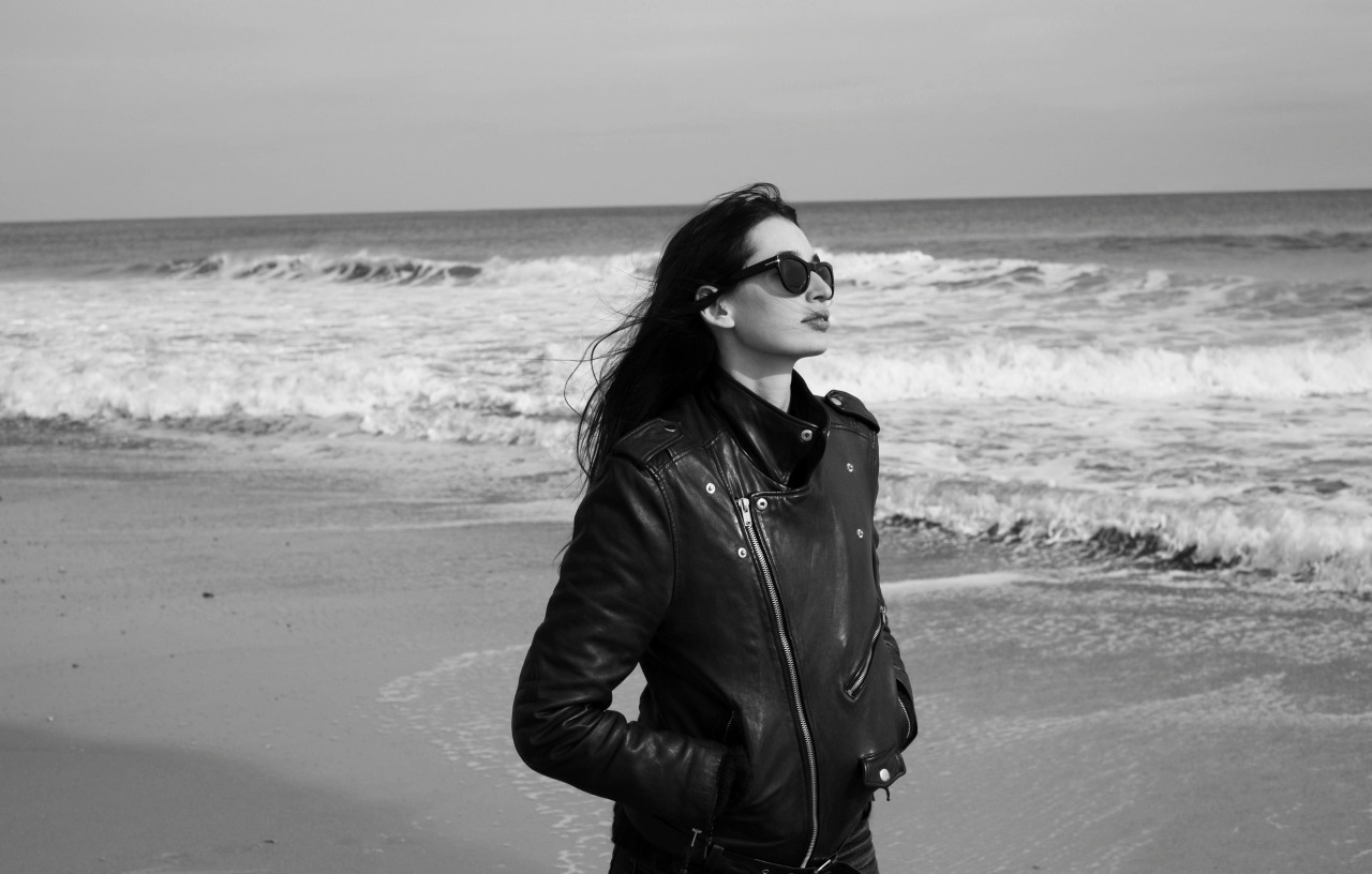 blkdnm:  KENZA FOURATI IN MONTAUK, LONG ISLAND. PHOTOGRAPHED BY JOHAN.  LEATHER JACKET 5.