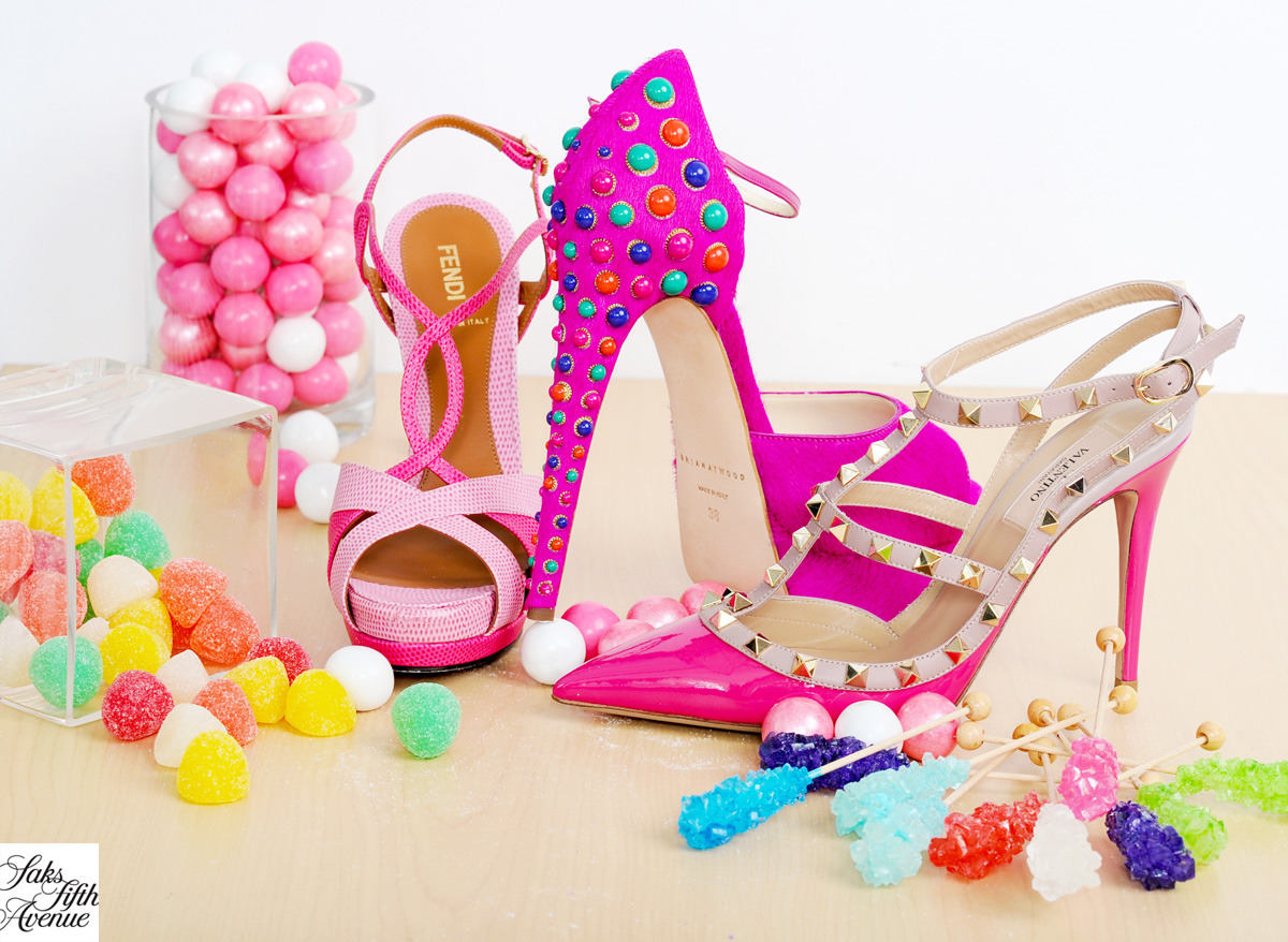 Candy Land never looked so chic. From left to right, Fendi, Brian Atwood, Valentino.