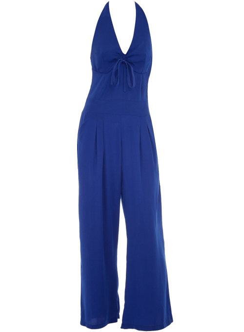 Blue Halter Wide Leg Jumpsuit by Dorothy Perkins