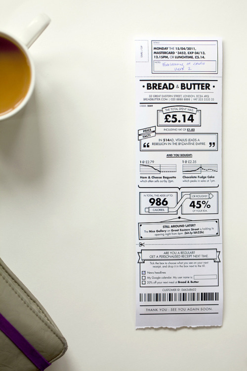 "Turning receipts into paper apps  We think the humble receipt could be something like a paper ""app"" and be valuable in small and playful ways."