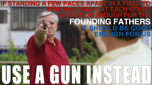 "useaguninstead:  Glenn Beck got weepy at an NRA thing because he knows the truth, that the ""freedom of all mankind is at stake"" if Americans are forced to wait two days for a background check before legally owning a gun. He made the totally rational argument that if we allow the legal ownership of ONLY handguns, shotguns and rifles but ban extended clips and AR-15s, the 2nd amendment will pretty much be useless and Americans will become defenseless to a ""new kind of enemy"". He told the audience that ""the hour is near"" for the stakes of the world because they're going after the ""core of America""… the 2nd amendment! And if the 2nd sort of gets limited, then the 1st will clearly be abolished followed by the 4th, the 9th, 3rd… 5th? I'm hazy on the exact order but it all leads to more income taxes. Who wants to take those amendments and burn them? A ""new kind of enemy."" The very government we democratically elected is now ""run by radical revolutionaries"" who will stop at nothing to leave us defenseless to rapists and murderers.  He then made a rallying call for us to follow in the footsteps of Jesus, Gandhi and Martin Luther King. These great leaders fought for gun rights just like the NRA is today. I know it's difficult, but when you're being crucified, on a hunger strike or being sprayed down with fire hoses at the next peaceful NRA march think of those leaders. Because gun owners are not like those ""absolute dopes"" and ""dirty hippies"" that use name calling and fear to win. We use the principals of our founding fathers to guide us, just not the stuff about slavery, woman not being able to vote, or native American genocide.   The founders knew how important guns were, that's why they used them to settle arguments. Sadly, progressives managed to outlaw dueling. Don't let the same thing happen to your right to give a 5 year old a rifle or store your extra guns in their closet."