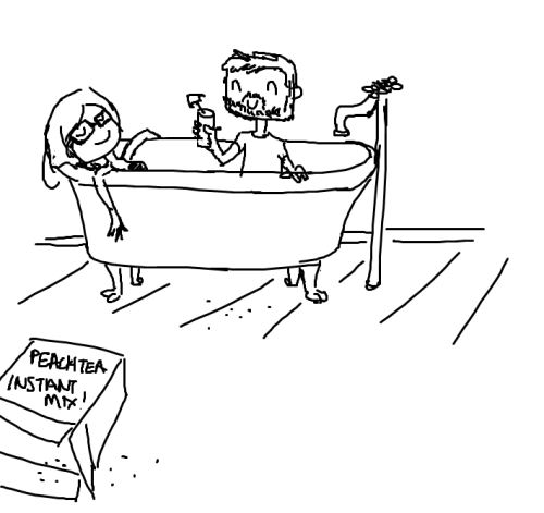 A silly little prompt about bathing in peach tea :P Drawn quickly in MS Paint for fun.