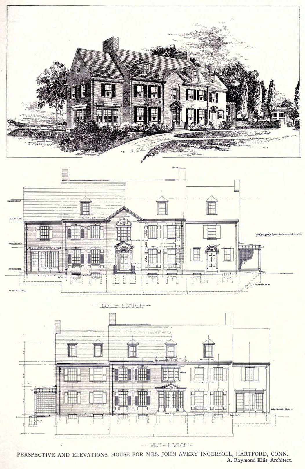 Perspective and elevations for a residence, Hartford