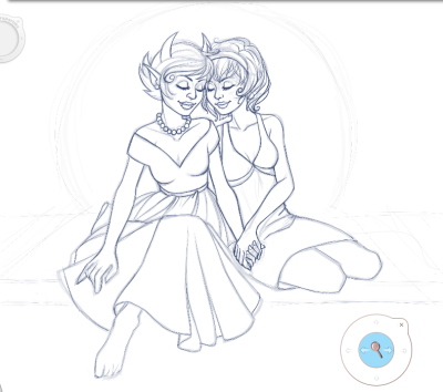 "Update on Rose and Kanaya drawing. Also an update on the hospital saga: I've managed to pick up gastro (possibly during the 9 hours I waited in the emergency room with my fiancé) so I'm not permitted to see him now. I've been sent home, so I've continued the drawing to keep myself from worrying. He just phoned me and seems less confused than this morning, which is good. It seems to fluctuate a bit. Still no diagnosis. He doesn't like the MRI, describing it as ""some nightmarish cross between Hellraiser and A Clockwork Orange."" Still awaiting results/diagnosis/treatment."