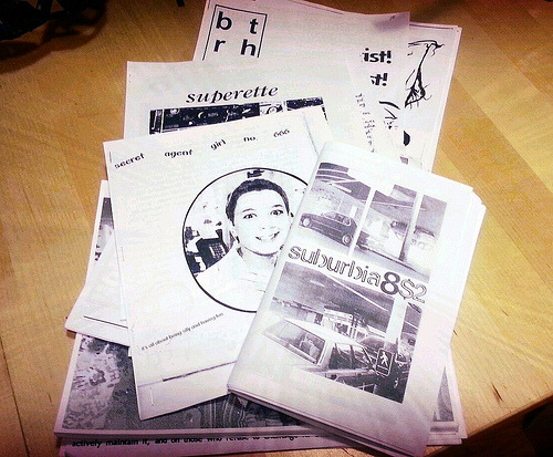 poczineproject:  A lovely pile of zines by POC from the 1990s Tonight we're giving a donation of 60+ zines by people of color to Jenna Freedman, for the Barnard Zine Library! Jenna has been a longtime POCZP ally and we appreciate all her support. This donation was made possible by a collaboration between POCZP founder Daniela Capistrano and Mimi Thi Nguyen, with additional support from Mimi's very helpful grad students who handled scanning, copying and assembling <3 This donation of Riot Grrrl-era zines by POC is a component of our advocacy tied to the Legacy Zine Series. We want as many people as possible to have access to independent publications by people of color. We'll announce more aspects of the Legacy Series initiative in the coming months. Stay tuned for the first Legacy Series feature in early January, right here on our Tumblr! - POC Zine Project  So glad I could be a part of this!