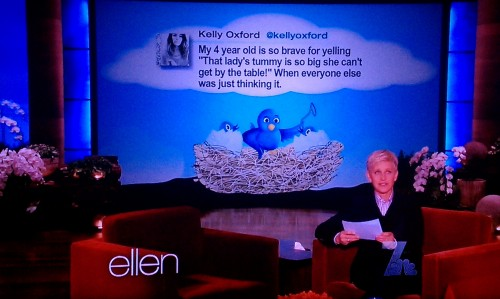 "kylathegreat:  Ellen ! Ellen DeGeneres ! America's favorite lesbian and anti-bullying advocate ! Who doesn't love Ellen ?! Me. I don't love Ellen. Before a few days ago, I actually didn't have much of an opinion of her, but when my close friend, Tiffany, told me about a tweet Ellen read on her show, I formed one quickly. From what I can tell, on her show, Ellen does a weekly roundup of ""funny"" tweets from ""amateur Twitter comedians."" And this is one of them: ""My 4 year old is so brave for yelling ""that lady's tummy is so big she can't get by the table!"" When everyone else was just thinking it.""  - @kellyoxford Why is this funny, Ellen ? Where is the comedy ? Is it comical how poor Kelly Oxford's parenting skills are ? Am I supposed to laugh because this child is a  total brat ? Surely you're not expecting me to laugh at the expense of the big bellied woman, right ? Right ??  [image: quote of Ellen DeGeneres saying, ""Most comedy is based on getting a laugh at somebody else's expense and I find that's just a form of bullying.] Because that's bullying, Ellen. What prompted the discussion of this tweet between Tiffany and I ? We were at one of our favorite Thai spots for dinner. The waiter wanted to seat us in one of those two person tables, right in the middle of two other full tables. I took one look and said, ""Um, can we get a different seat ? This isn't going to work,"" He looked at me like I was really putting him out by requesting a table we could actually fit into. And in that moment I felt that panic I've been familiar with my whole life — I'm fat, in public, around food, and everyone is looking at me. It's not funny. It hurts. It's a really painful experience when everyone is looking at you, judging you because of your body. Even if there wasn't an issue with my table, I'm still noticed and judgements are made because of my size. I can't hide my fat. I can't take it off when I go out in public. I can't hold the entire world's face at MySpace angle height. I'm fat and I like Thai food and I just want to enjoy myself in the company of friends — without shame being projected on me by children whose parents should spend more time teaching them how to be good people and less time on Twitter. In the end, we were seated in a space suitable for our size. But if we hadn't advocated for ourselves, we would have been that lady whose tummy was too big to get by the table. Most fat people ARE that lady because we're taught that our bodies are wrong, not the arbitrary amount of space we're ""allowed"" to take up. There is nothing brave about making another person feel bad about their body, Kelly, Ellen, and anyone else who got a kick out of this tweet. It's rude and mean. The end."