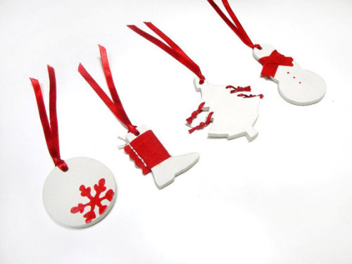 Christmas clay ornaments in white and red by beh1ndbymk on Etsy